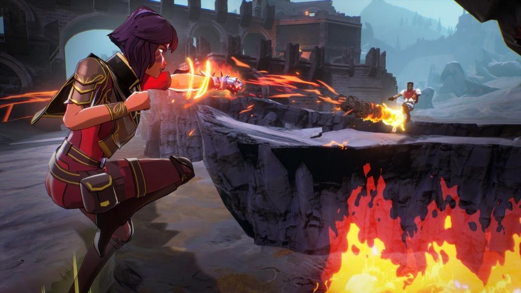 A mage casts a fireball.