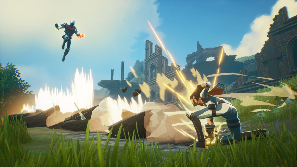 Spellbreak, a mage uses shockwave while another mage levitates.